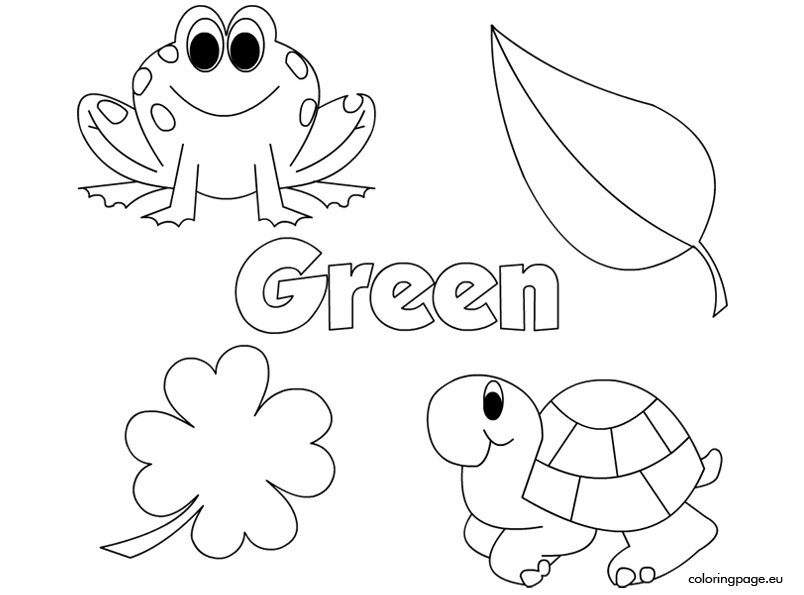 The Color Green Coloring Page Colors Coloring Pages