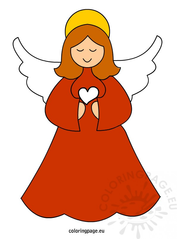 Christmas Angel vector art Coloring Page