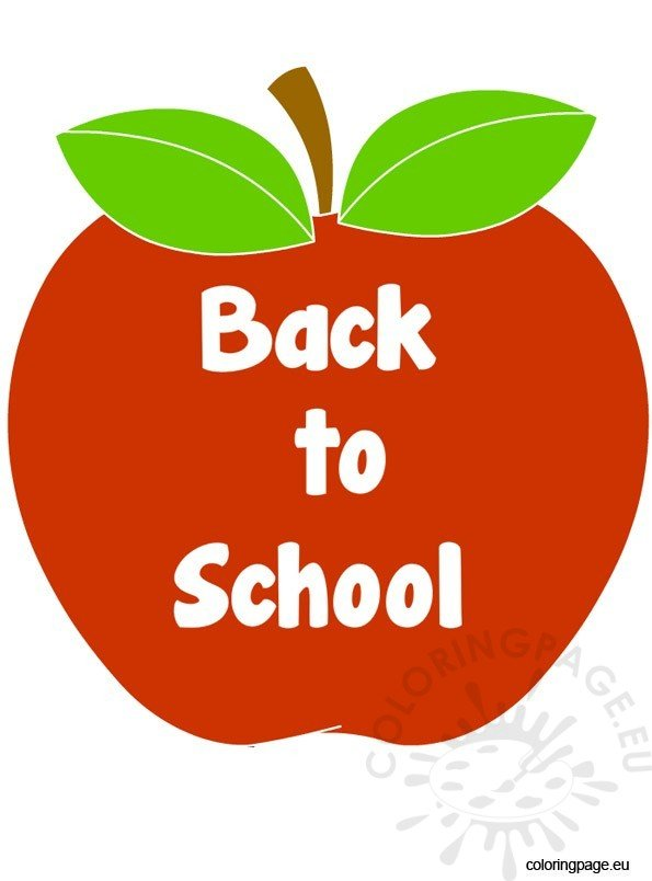 back to school apple � coloring page