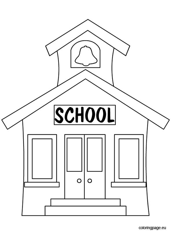 back to school school house coloring page