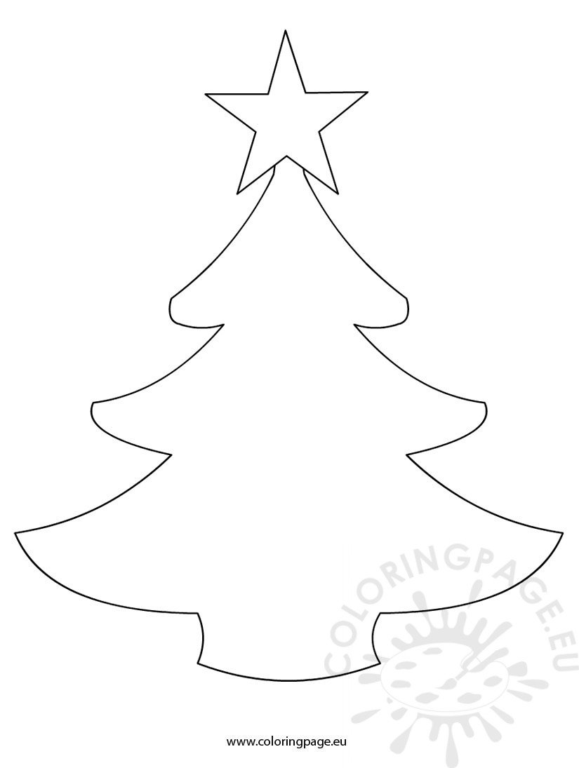Template Christmas Tree Simple Coloring