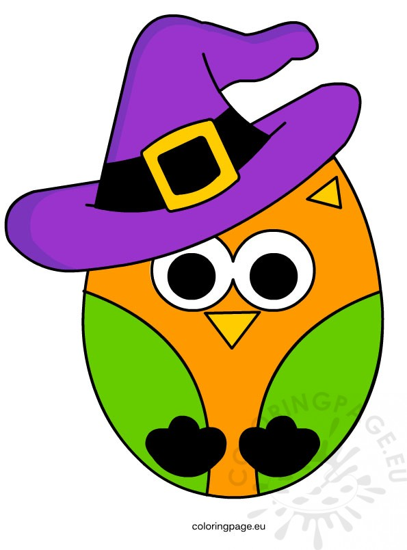 cute owl halloween coloring page