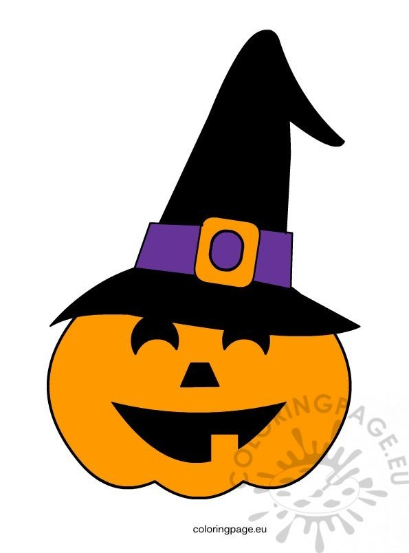 halloween pumpkin with witch hat coloring page