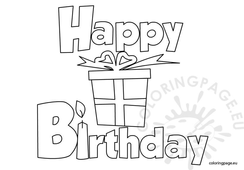 Happy Birthday Printable - Coloring Page