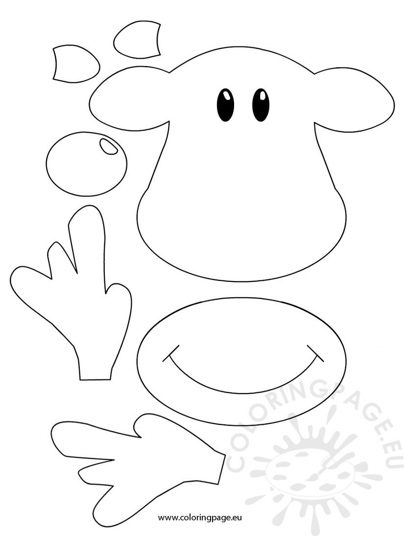 Rudolph face template coloring page for Reindeer cut out template