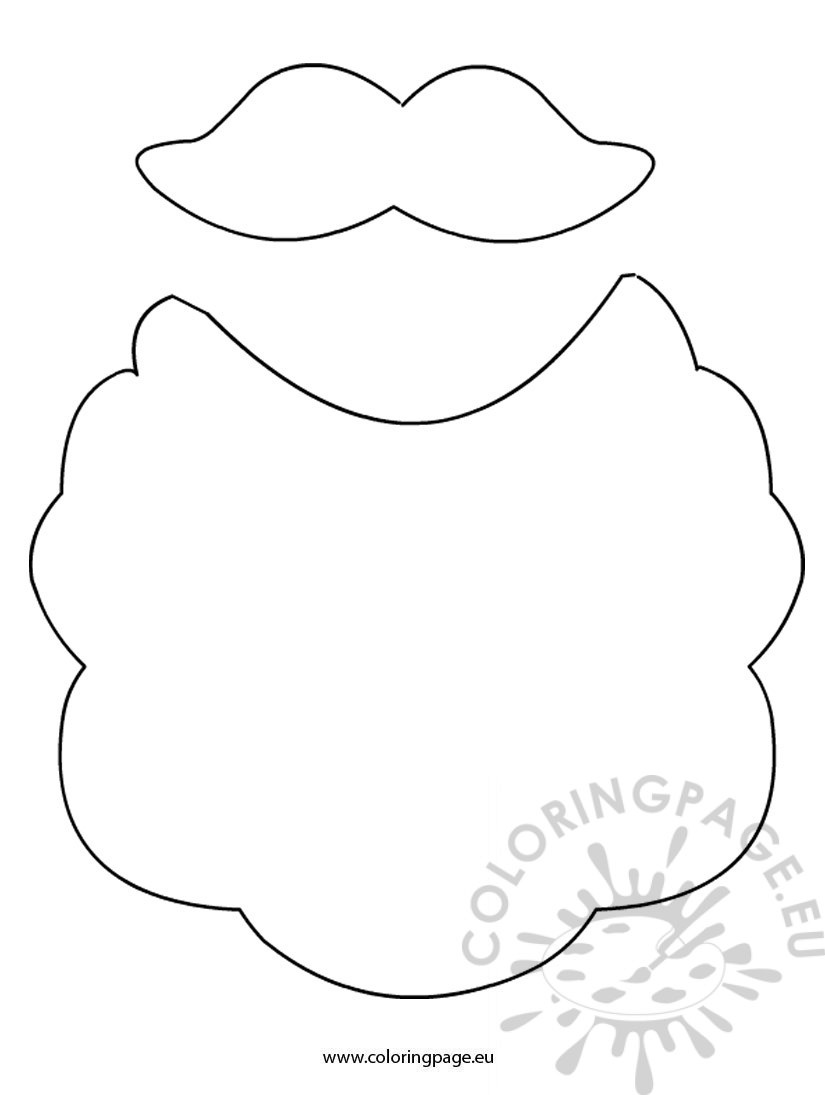 Beard and Mustache Santa Claus | Coloring Page