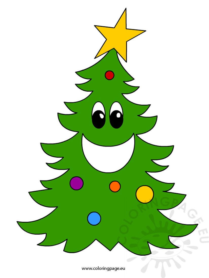 Cartoon christmas tree 2 coloring page