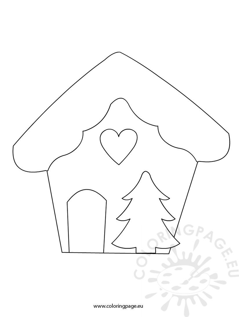 christmas house template coloring page