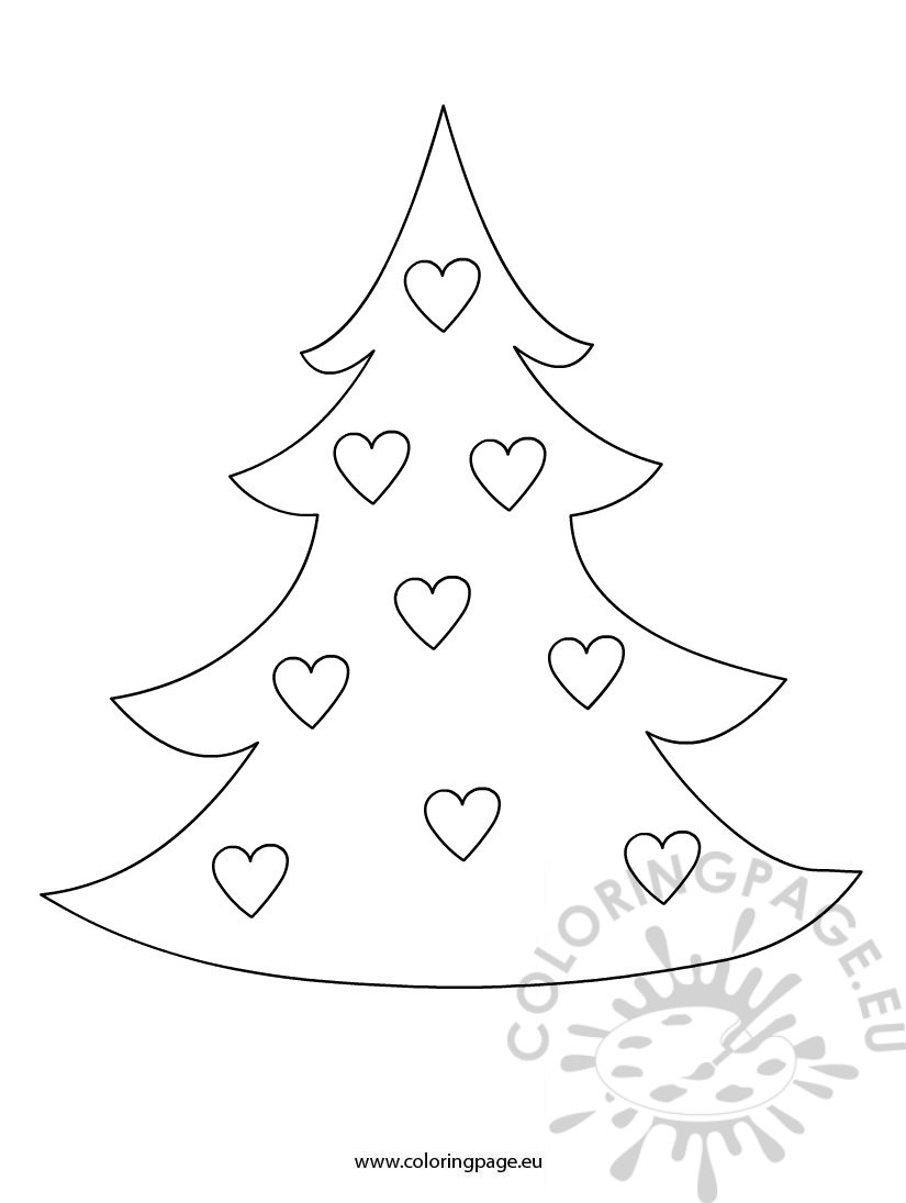 Christmas tree with hearts Coloring