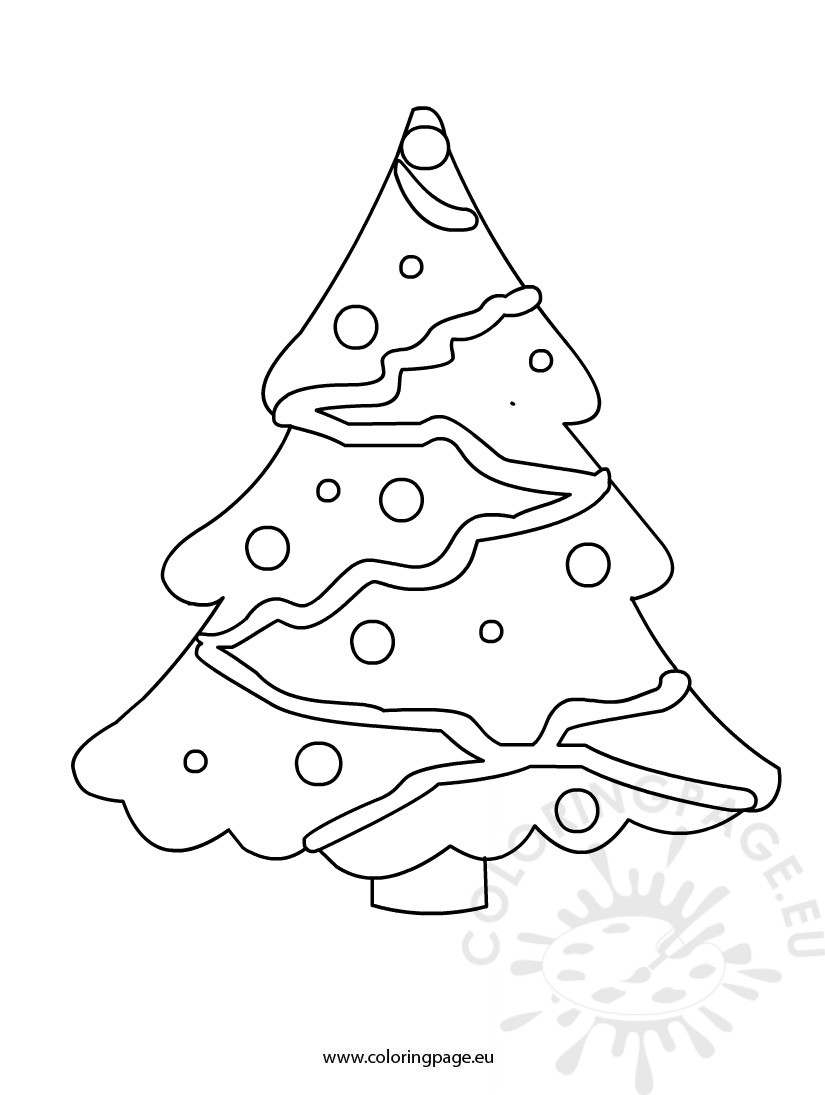 Christmas tree coloring page for kids - Coloring Page