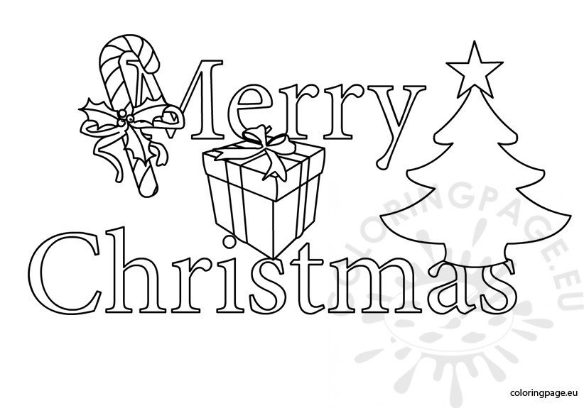 Merry Christmas clipart black and white | Coloring Page
