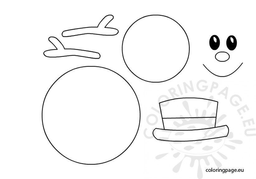 Free coloring pages of snowman template for Snowman templates free