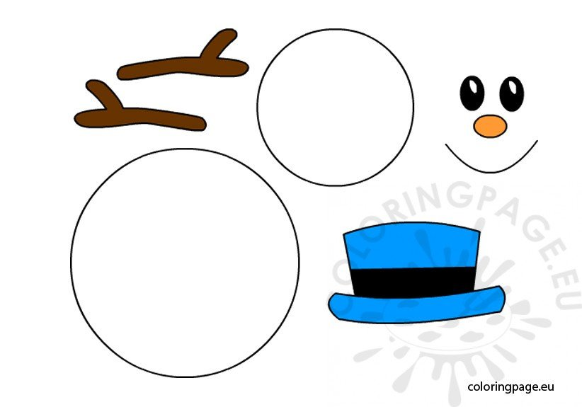 Snowman Template Printable  Coloring Page