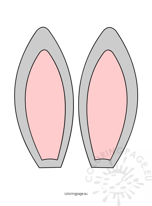 bunny ears headband template - bunny ears clipart coloring page