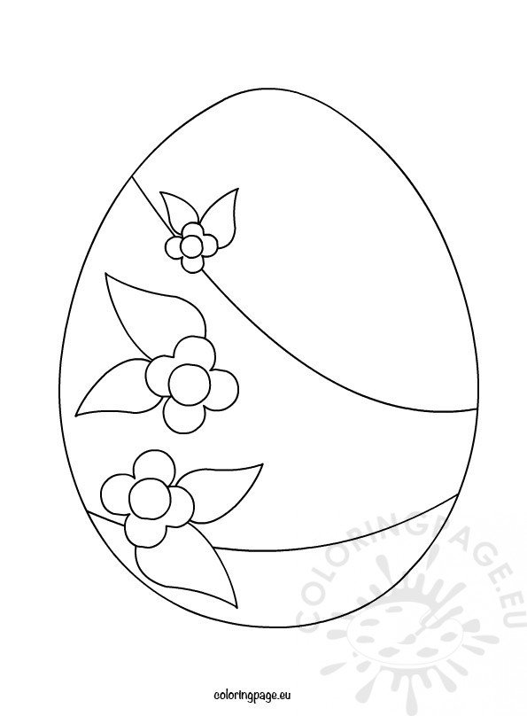 Big Easter Egg With Flowers Coloring Page