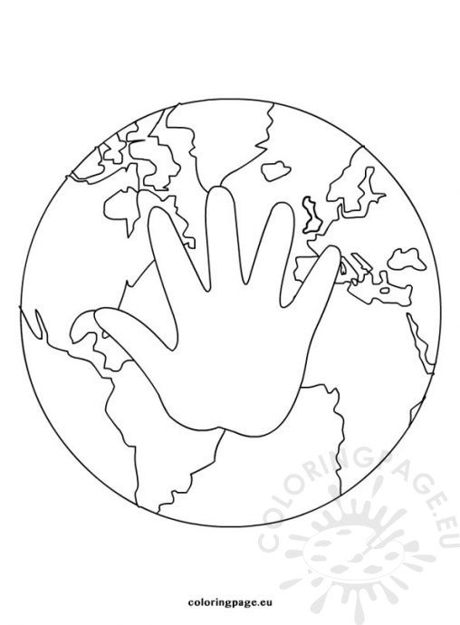 Earth Day Coloring Page With Hand