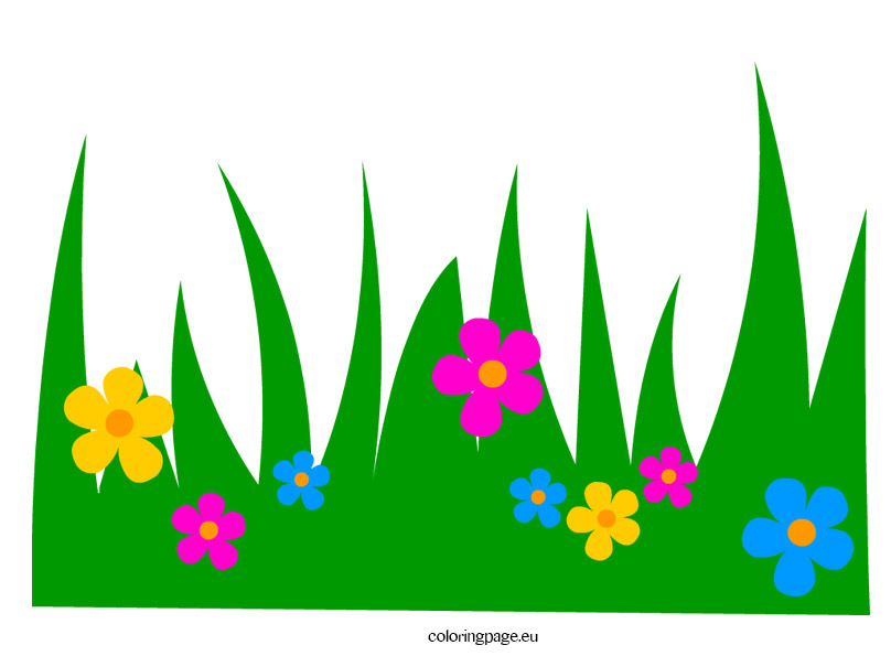 Grass with Flowers clip art – Coloring Page