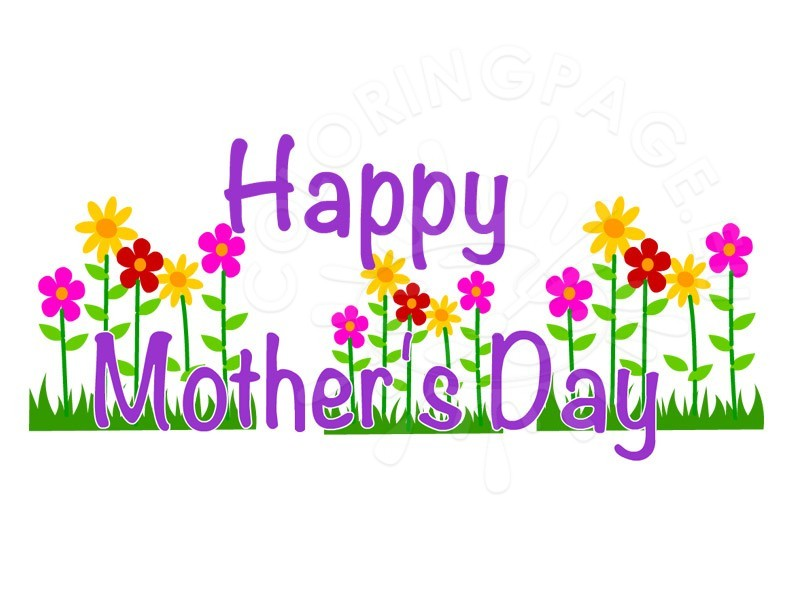 Happy Mother's Day clip art | Coloring Page