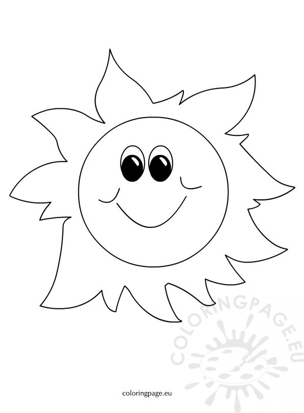 Spring Happy Sun Cartoon - Coloring Page