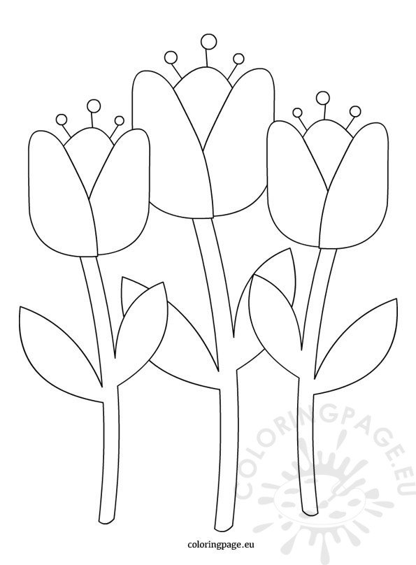 Holland Tulips Coloring Page