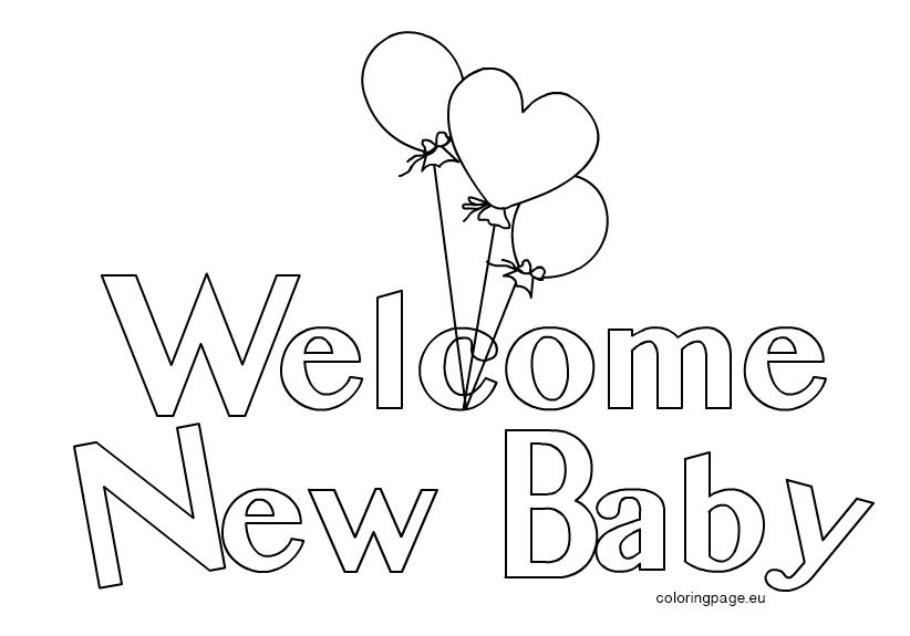 Welcome New Baby 2 Coloring Page