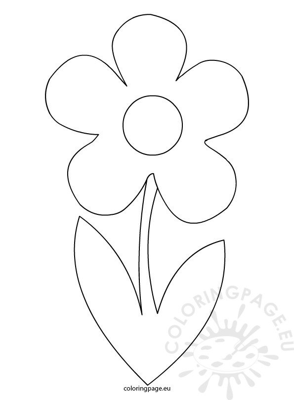 Flower With Stem Template  Coloring Page