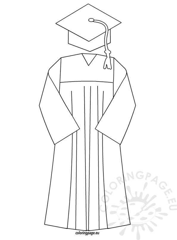 Graduation cap and gown template | Coloring Page