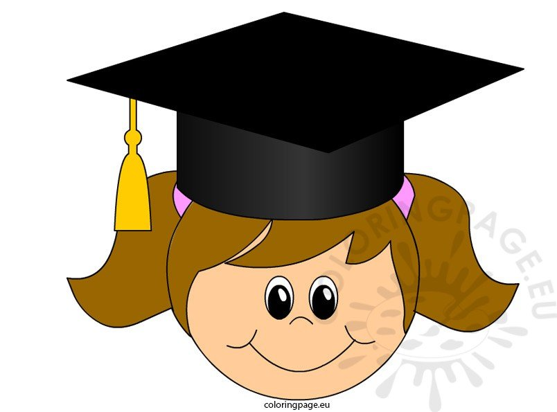 Graduation Girl clip art | Coloring Page