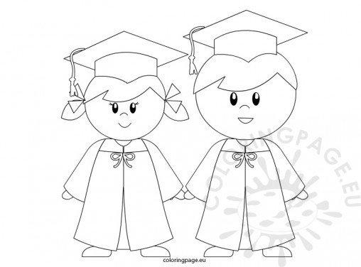 Kindergarten Graduation2 Graduation Cap And Gown Coloring Pages