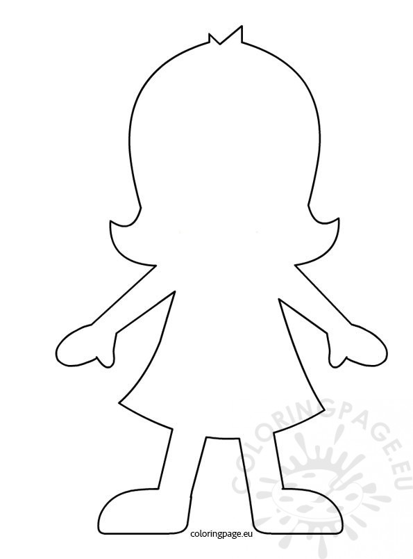 Girl paper doll template coloring page for Paper doll templates cut out