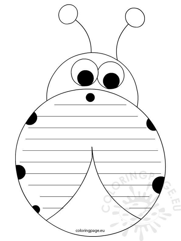 Writing paper ladybug Coloring Page