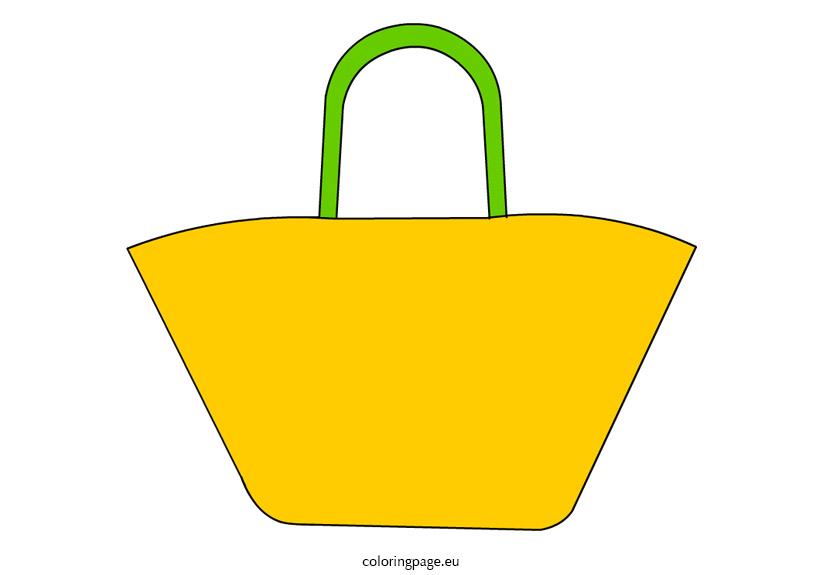 Beach bag clip art | Coloring Page