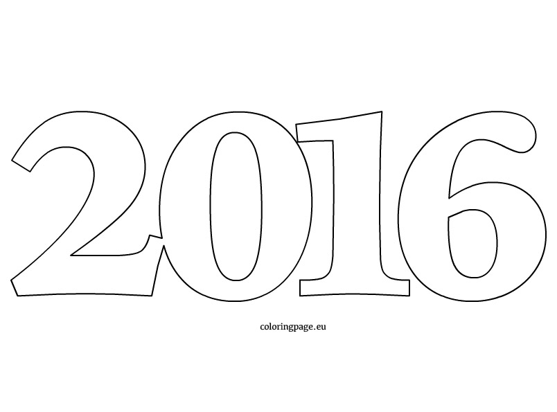 Number 2016 coloring page for Happy new year coloring pages 2016