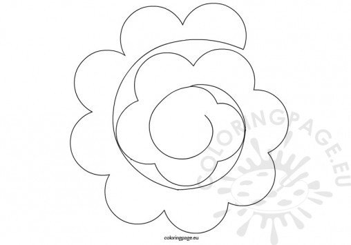 Flowers coloring page for Rolled paper roses template