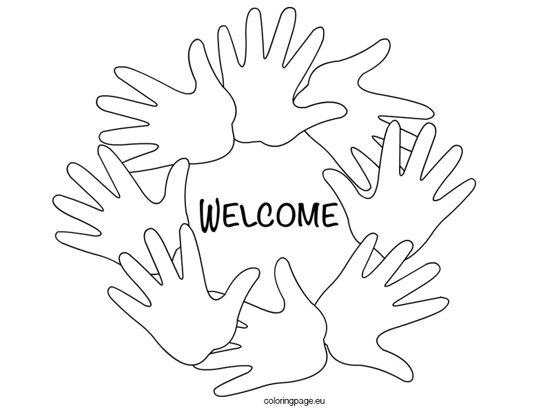 Welcome Hands Black And White Coloring Page
