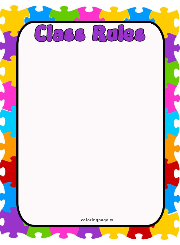 Class rules coloring page for Classroom rules coloring pages
