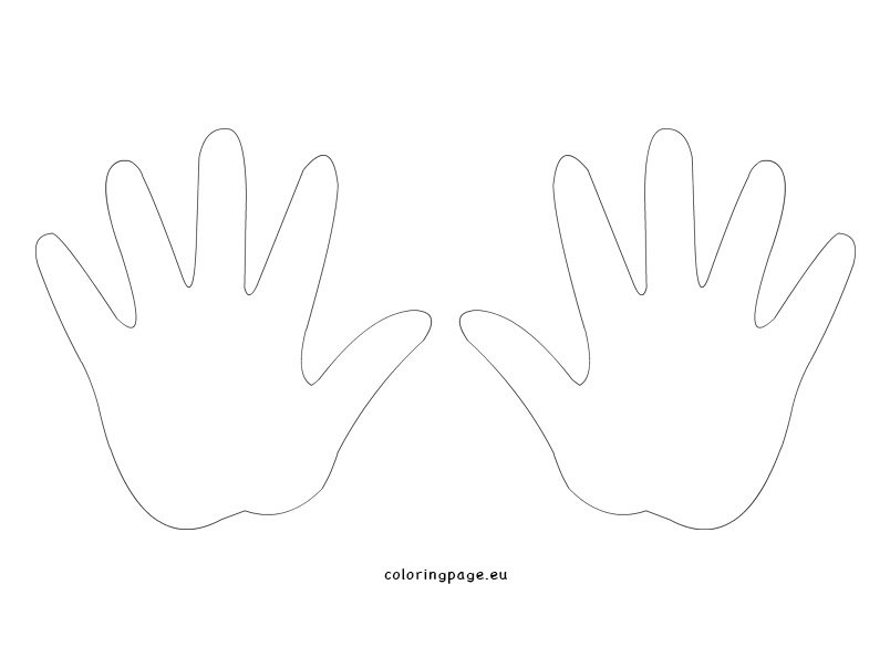 Printable Hand Template Coloring Page