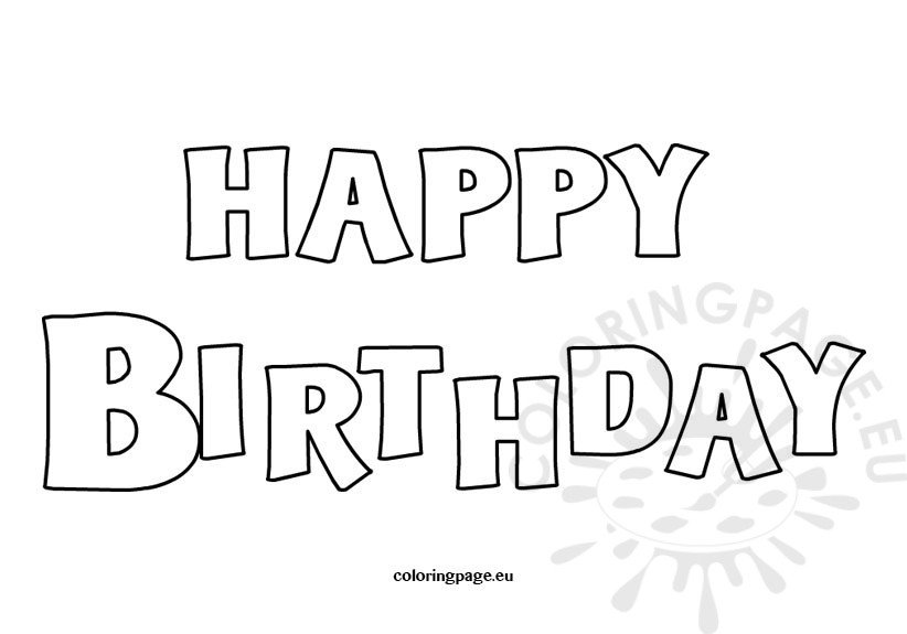 Happy Birthday coloring card Coloring Page