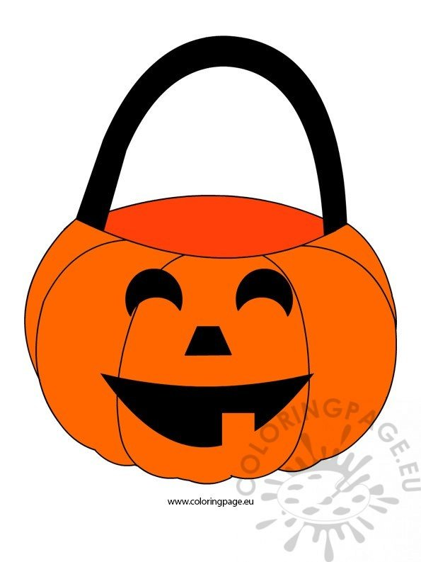 Halloween Pumpkin Basket Coloring Page