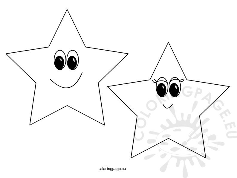 Smiling Stars - Coloring Page