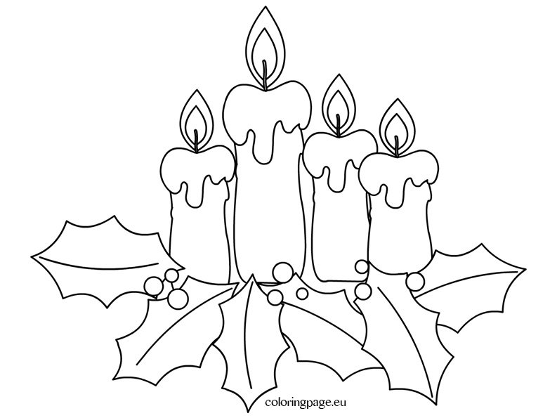 Christmas coloring page - Advent candles | Coloring Page