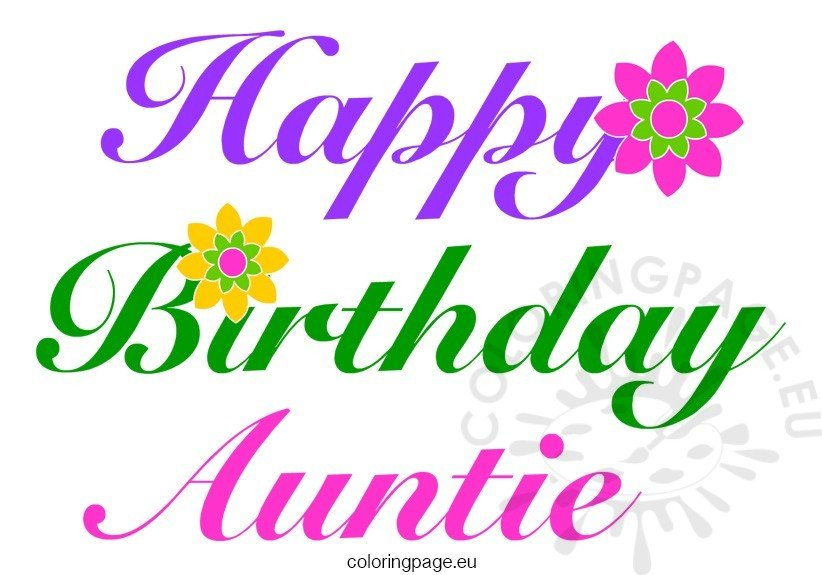 Happy Birthday Auntie - Coloring Page