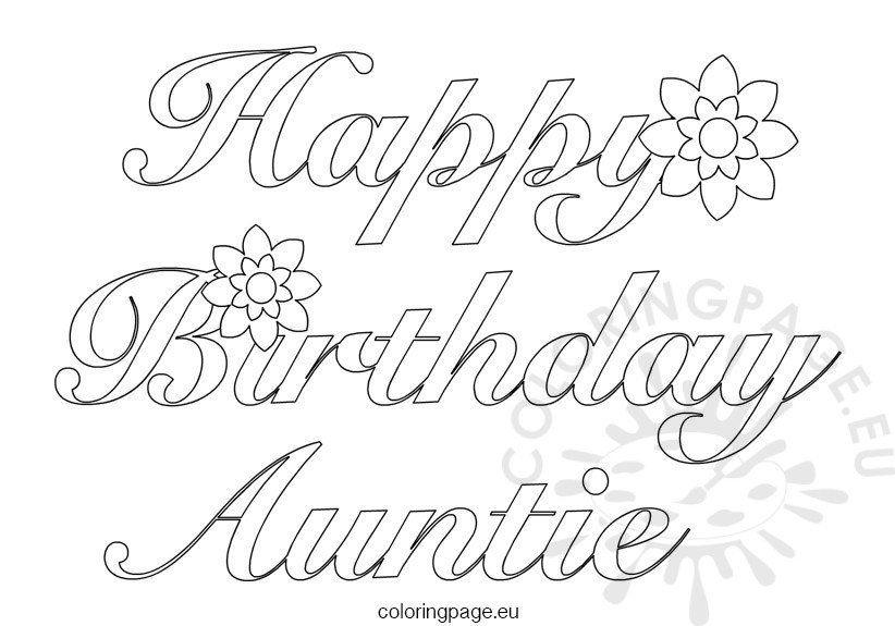 Auntie Happy Birthday Coloring Page