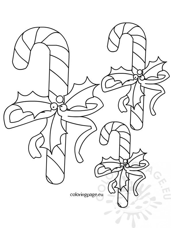 Candy Cane Template  Coloring Page