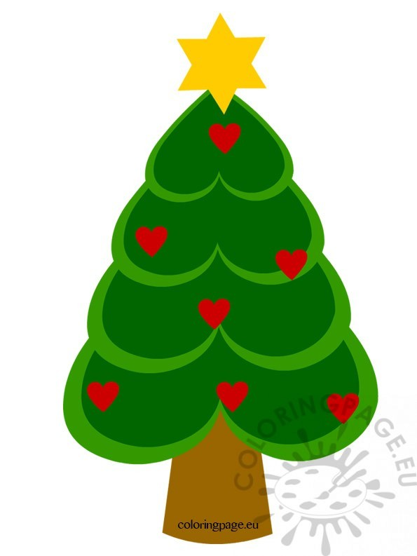 christmas tree with hearts  u2013 coloring page