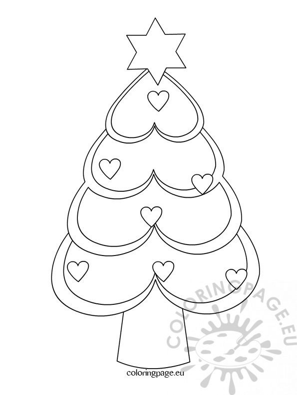 Christmas Tree hearts coloring