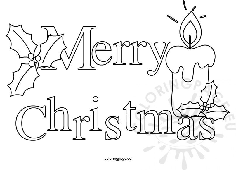 Merry Christmas Images Black And White.Merry Christmas Text Black And White Coloring Page