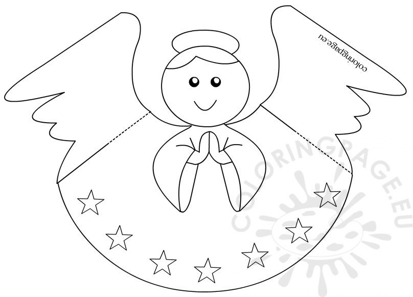 Paper angel template coloring page for Angel tree decoration template