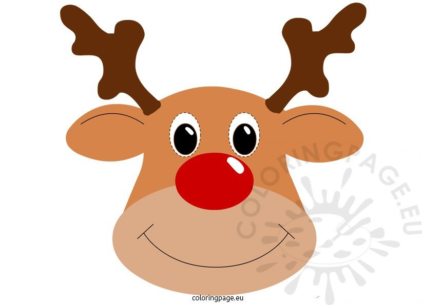 Rudolph mask coloring page for Rudolph the red nosed reindeer template