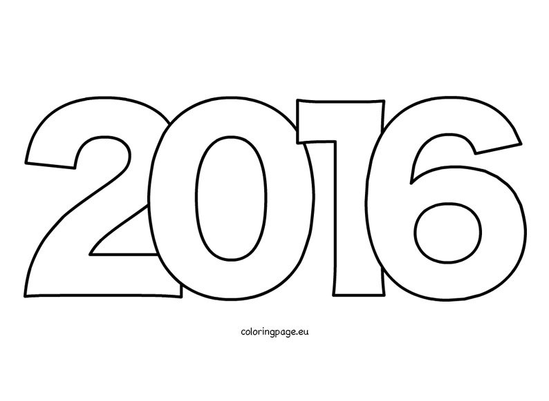 Year 2016 coloring page | Coloring Page